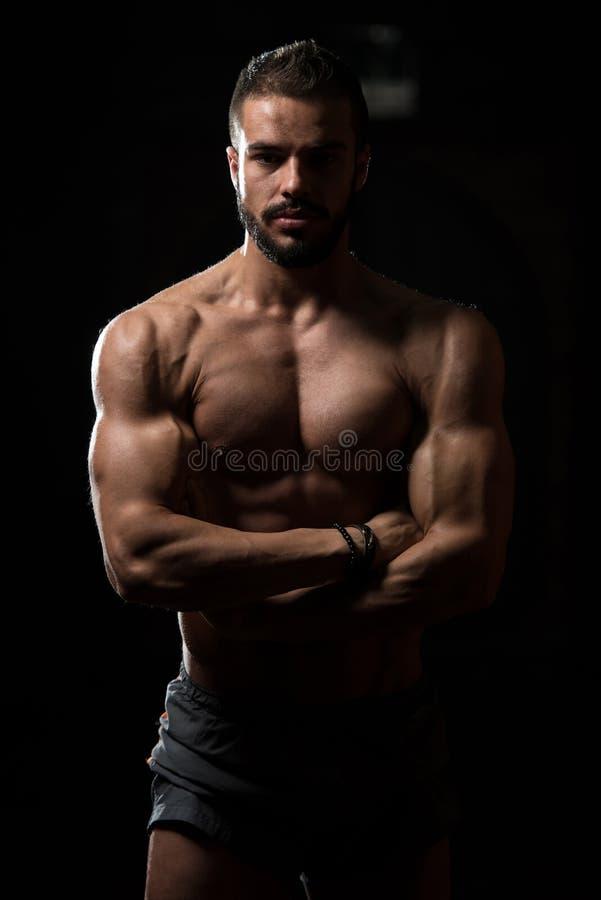 Retrato de un modelo muscular físicamente cabido imagen de archivo libre de regalías