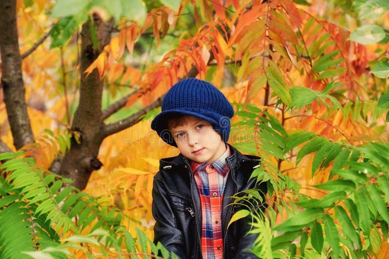 Retrato de un muchacho en un casquillo hecho punto caliente en un paseo del otoño fotos de archivo