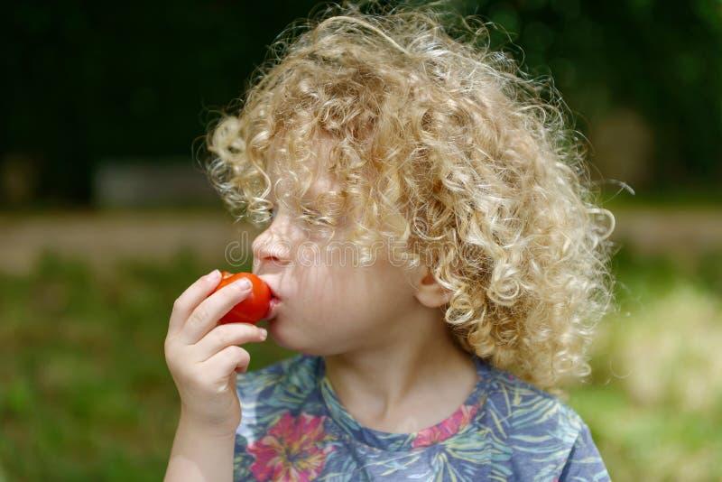 Retrato de un muchacho joven con el pelo rizado rubio fotografía de archivo libre de regalías