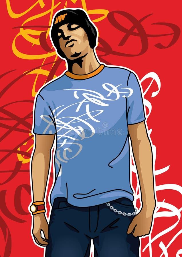 Retrato de un muchacho urbano stock de ilustración