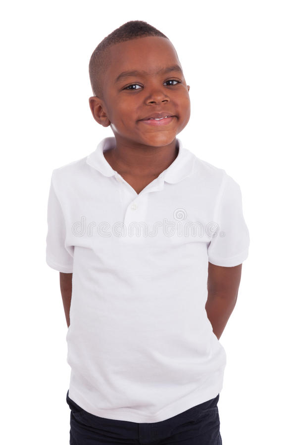 Retrato de un niño pequeño lindo del afroamericano fotografía de archivo