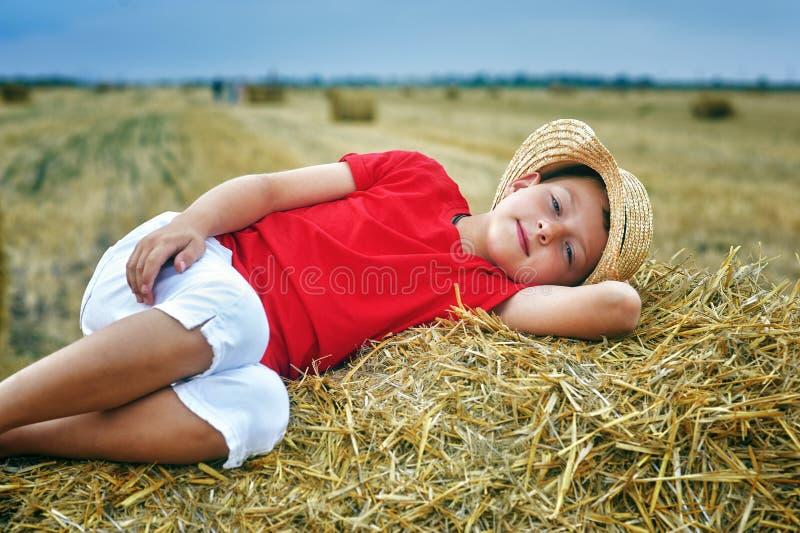 Retrato de un niño pequeño de vacaciones en el campo fotos de archivo libres de regalías