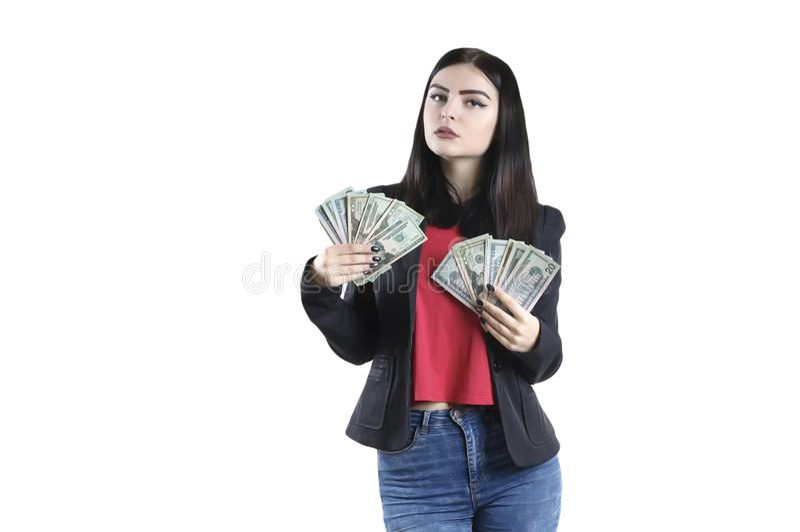Retrato de un paquete de la chaqueta de la muchacha de actividades bancarias del dinero imagenes de archivo