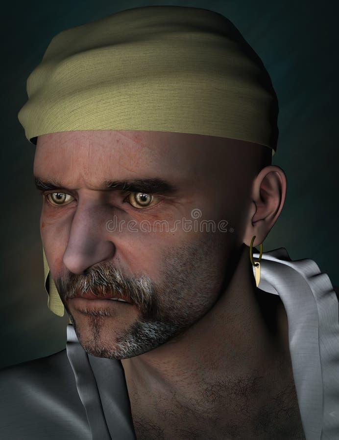 Retrato de un pirata ilustración del vector