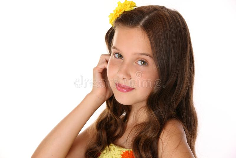 Retrato de un primer adorable de la muchacha del preadolescente imagen de archivo libre de regalías