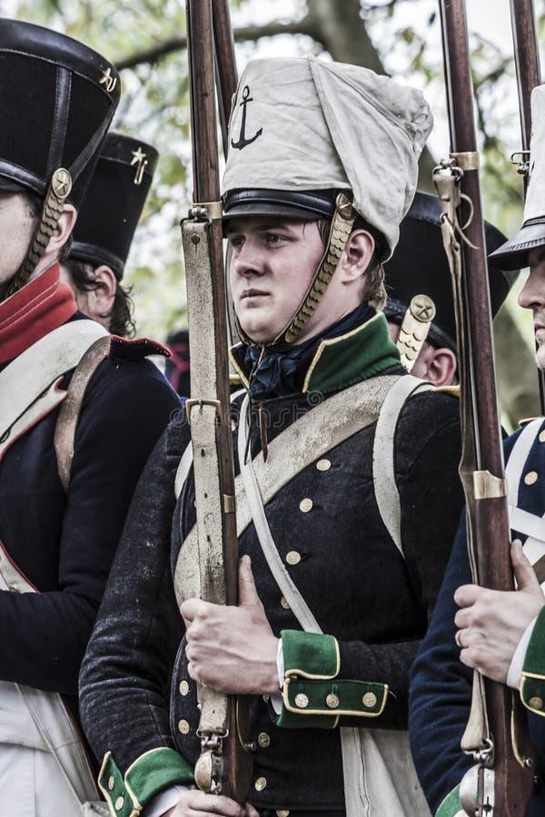 Retrato de un soldado joven de las tropas napoleónicas foto de archivo libre de regalías