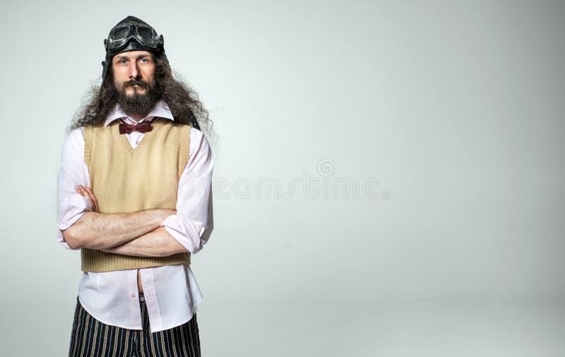 Retrato de un tipo nerd con gafas aéreas fotografía de archivo libre de regalías