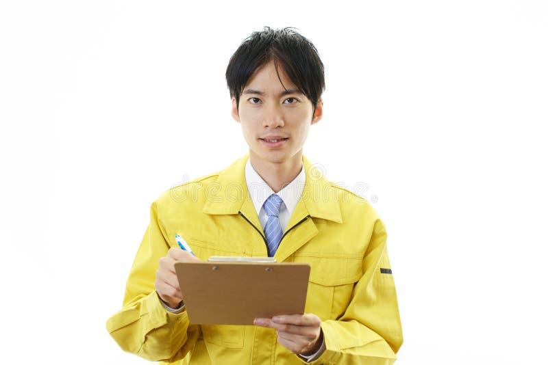 Retrato de un trabajador foto de archivo