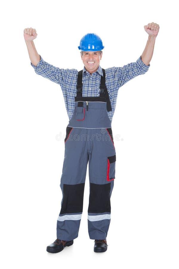 Retrato de un trabajador emocionado fotos de archivo