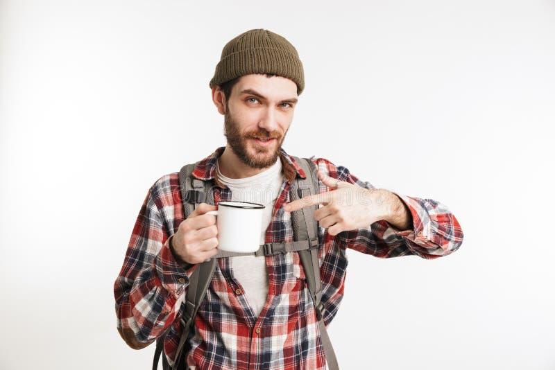 Retrato de un turista barbudo confiado del hombre en camisa de tela escocesa foto de archivo libre de regalías