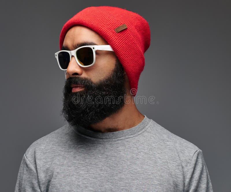 Retrato de un varón barbudo aislado en fondo gris imagen de archivo