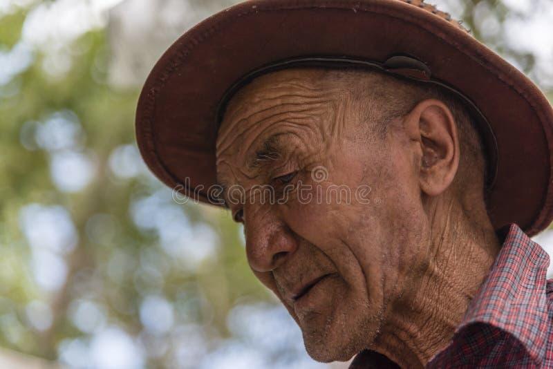 Retrato de un viejo hombre tibetano en un monasterio fotos de archivo libres de regalías