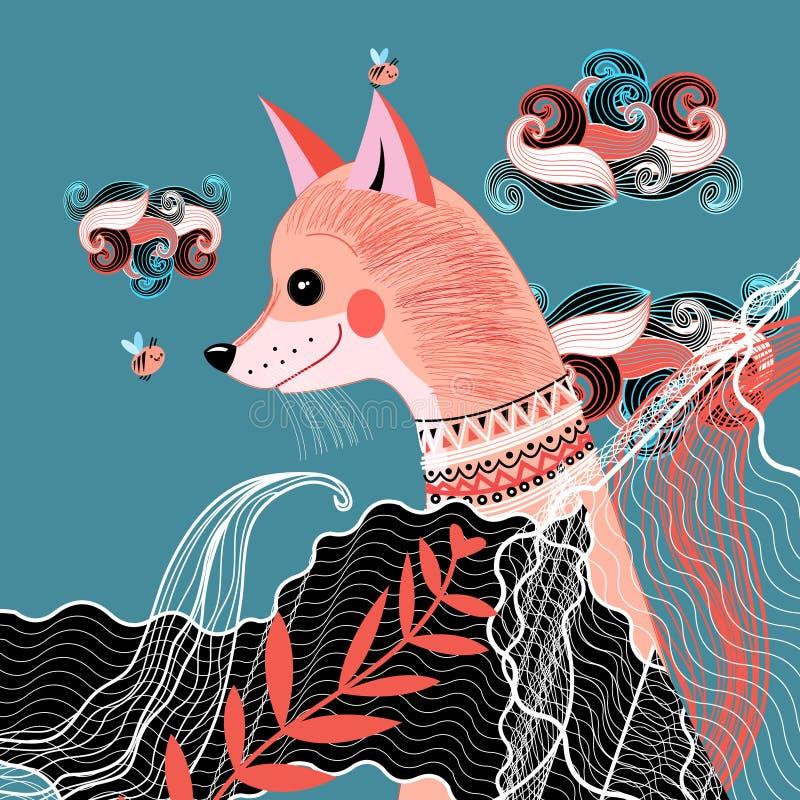 Retrato de un zorro divertido stock de ilustración