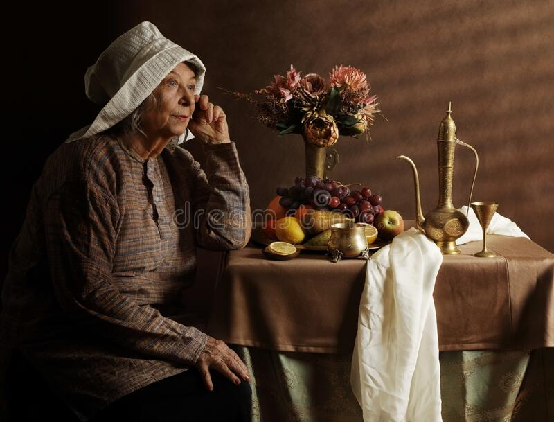 Retrato de una anciana al estilo holandés foto de archivo