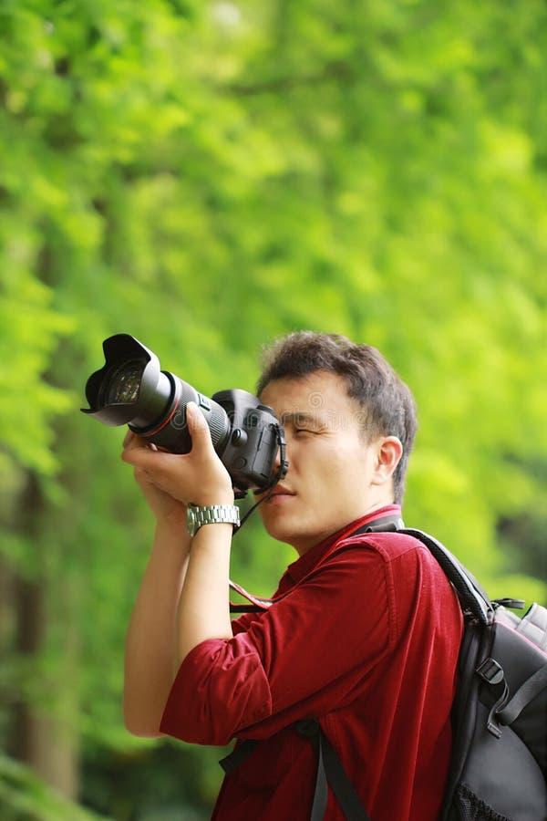 Retrato de una cubierta del fotógrafo de la naturaleza su pantalla de la cámara con la cara en un bosque del jardín del parque de imagen de archivo