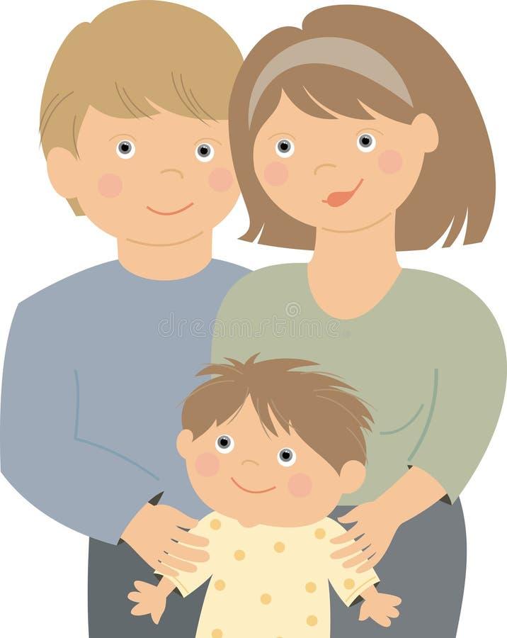 Retrato de una familia feliz stock de ilustración