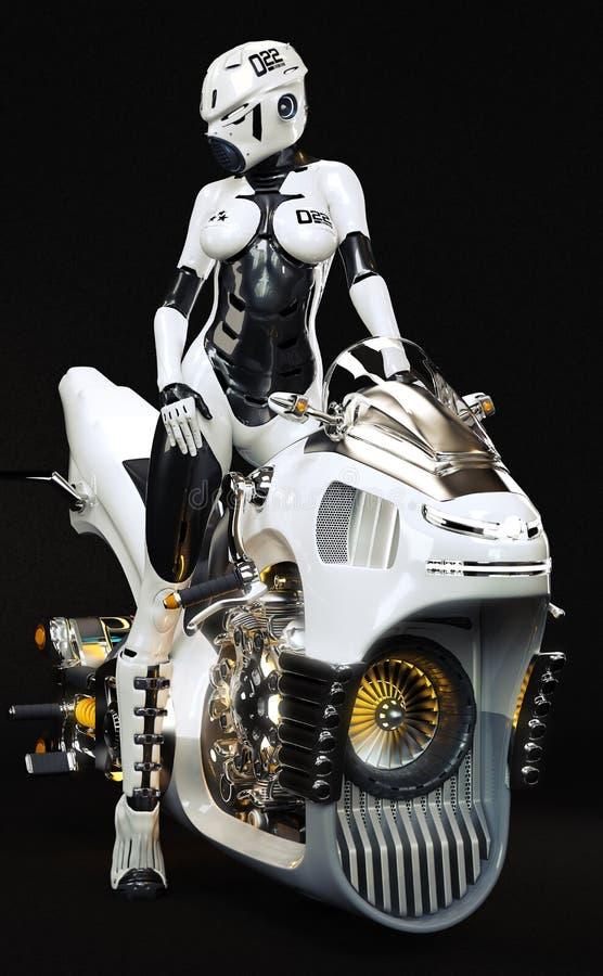 Retrato de una hembra futurista atractiva de la ciencia ficción que presenta en su bici lisa del jet de la libración con un fondo ilustración del vector