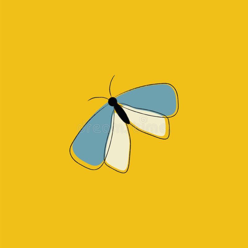Retrato de una mariposa sobre un vector de fondo amarillo o ilustración de color ilustración del vector