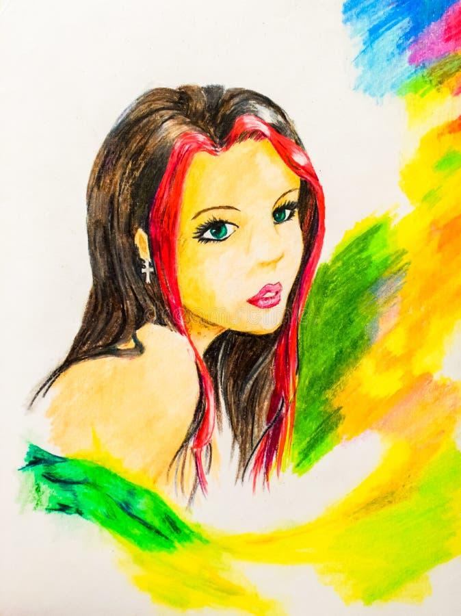 Retrato de una morenita con un filamento rojo del pelo Retrato hermoso de la muchacha desnuda Acuarela del dibujo fotos de archivo libres de regalías