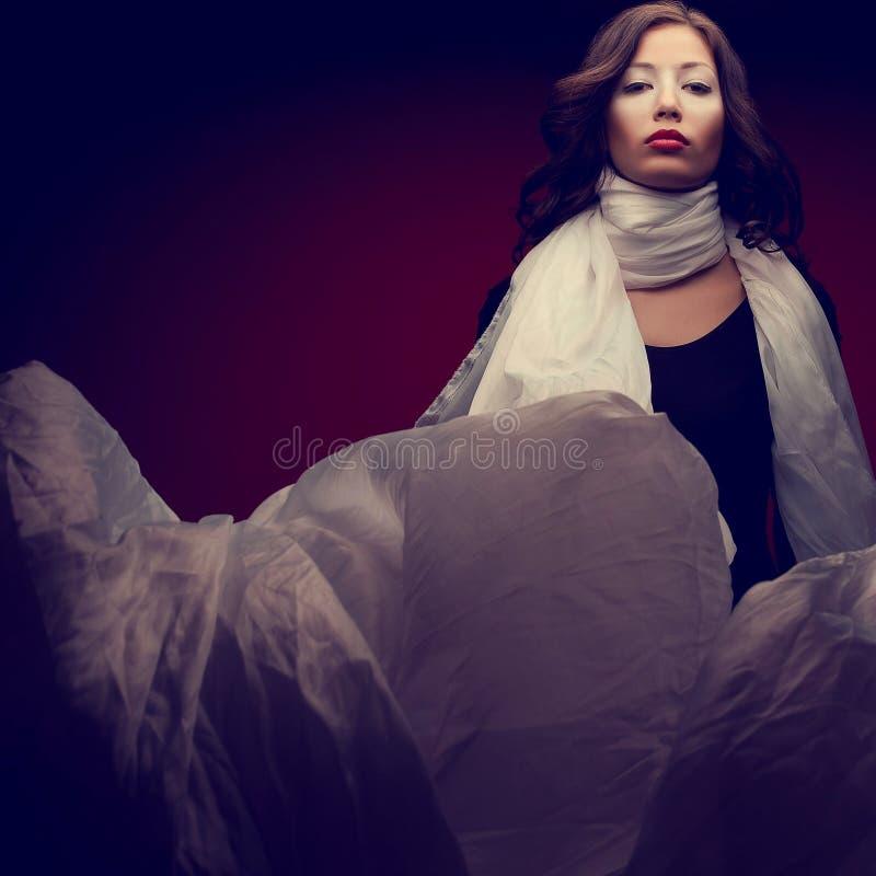 Retrato de una morenita hermosa con maquillaje de los arty y un w vapory imagen de archivo