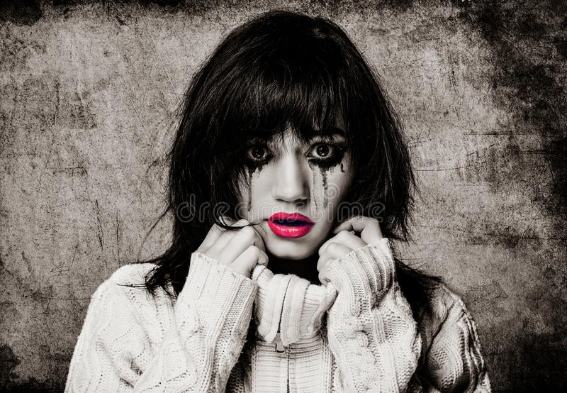 Retrato de una morenita triste fotos de archivo libres de regalías