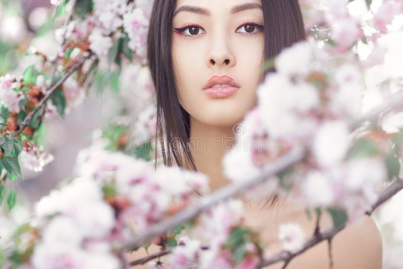 Retrato de una muchacha asiática hermosa al aire libre contra árbol del flor de la primavera imagenes de archivo