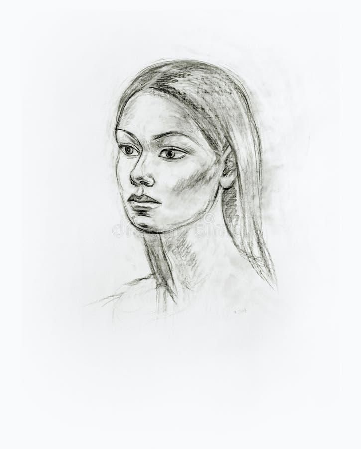Retrato de una muchacha con un lápiz ilustración del vector