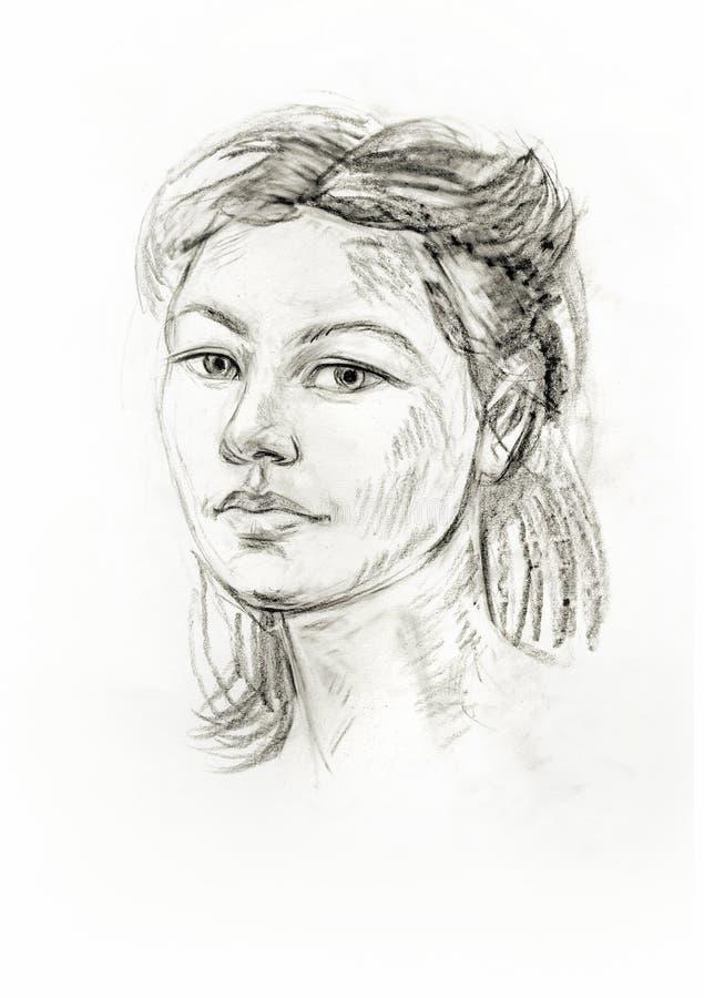 Retrato de una muchacha con un lápiz libre illustration
