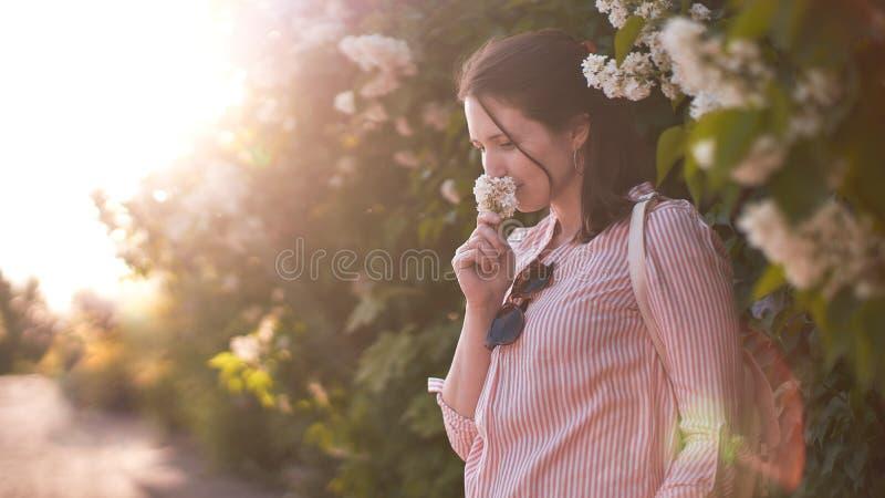 Retrato de una muchacha en el sol poniente la mujer inhala la fragancia de flores en el sol imágenes de archivo libres de regalías