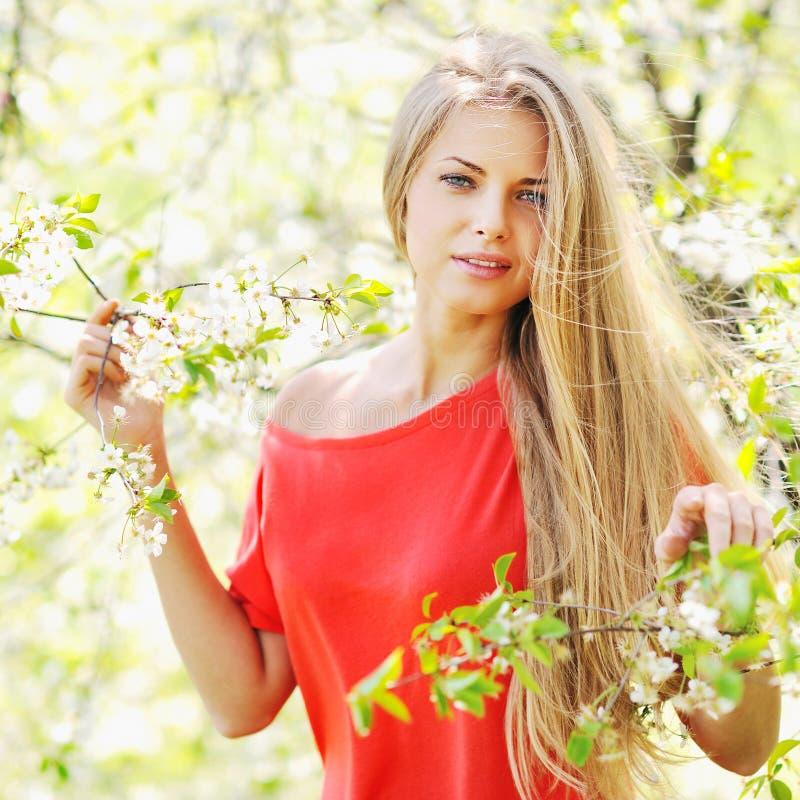 Retrato de una muchacha hermosa en parque del verano de la primavera imagenes de archivo