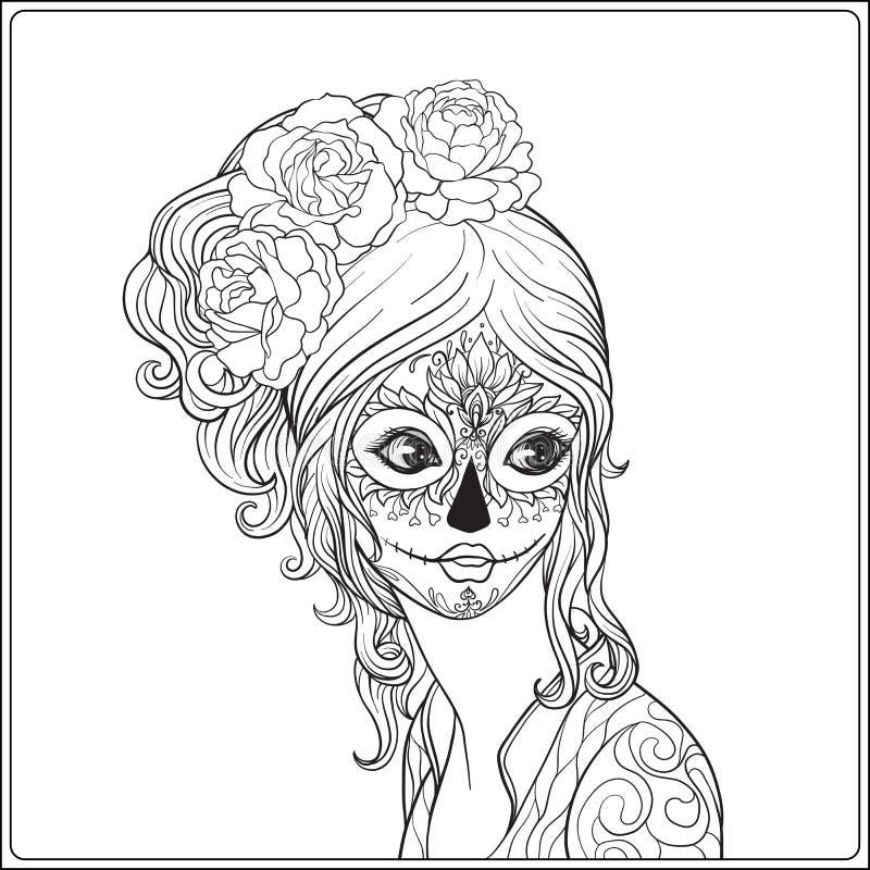 Retrato de una muchacha hermosa joven en Halloween o del día del De stock de ilustración