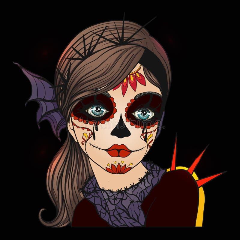 Retrato de una muchacha hermosa joven en Halloween o del día del De libre illustration