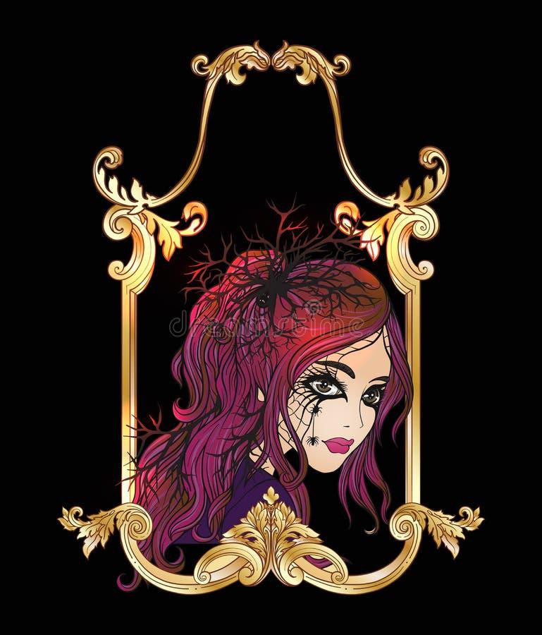 Retrato de una muchacha hermosa joven en Halloween o del día del De ilustración del vector