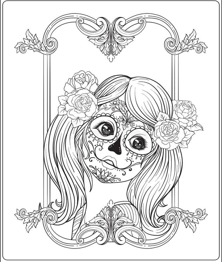 Retrato de una muchacha hermosa joven en Halloween o del día de los muertos ilustración del vector