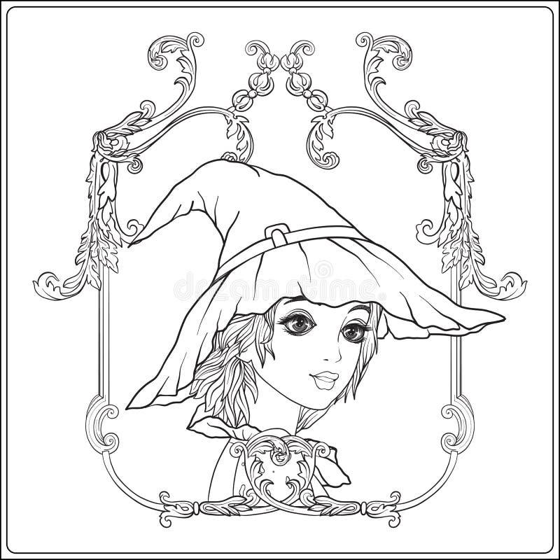 Retrato de una muchacha hermosa joven en Halloween o del día de los muertos stock de ilustración