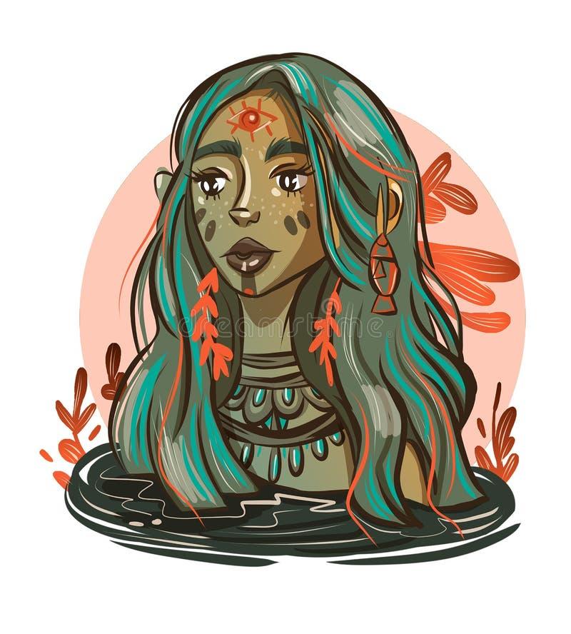 retrato de una muchacha de la sirena en colores fríos stock de ilustración