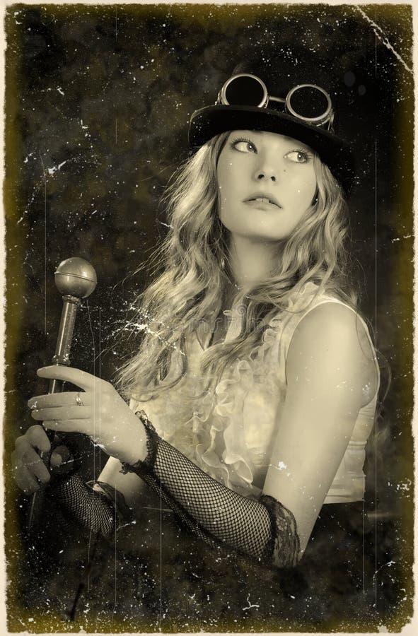 Retrato de una muchacha. Proceso retro. imagenes de archivo
