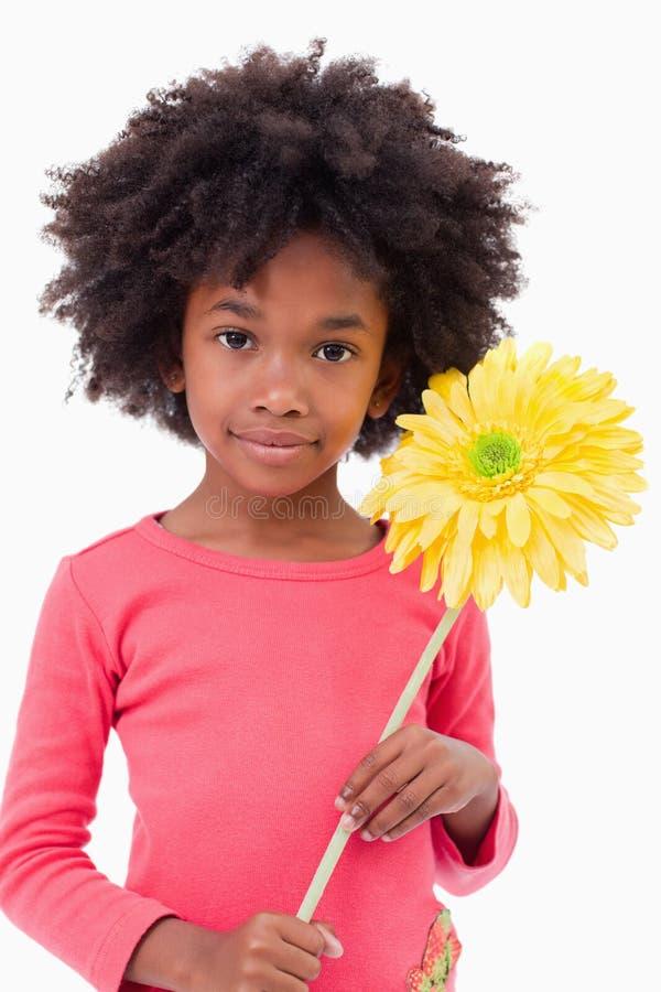 Retrato de una muchacha que sostiene una flor imágenes de archivo libres de regalías