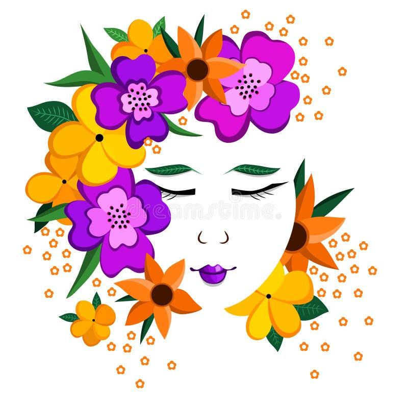 Retrato de una muchacha rodeada por las flores y las hojas stock de ilustración