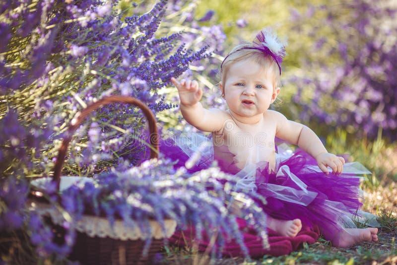 Retrato de una muchacha sonriente adorable en campo de la lavanda fotos de archivo libres de regalías