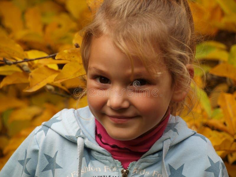 Retrato de una muchacha sonriente en un fondo de hojas amarillas brillantes fotografía de archivo