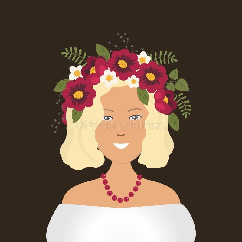 Retrato de una muchacha sonriente linda en una guirnalda floral en su cabeza libre illustration