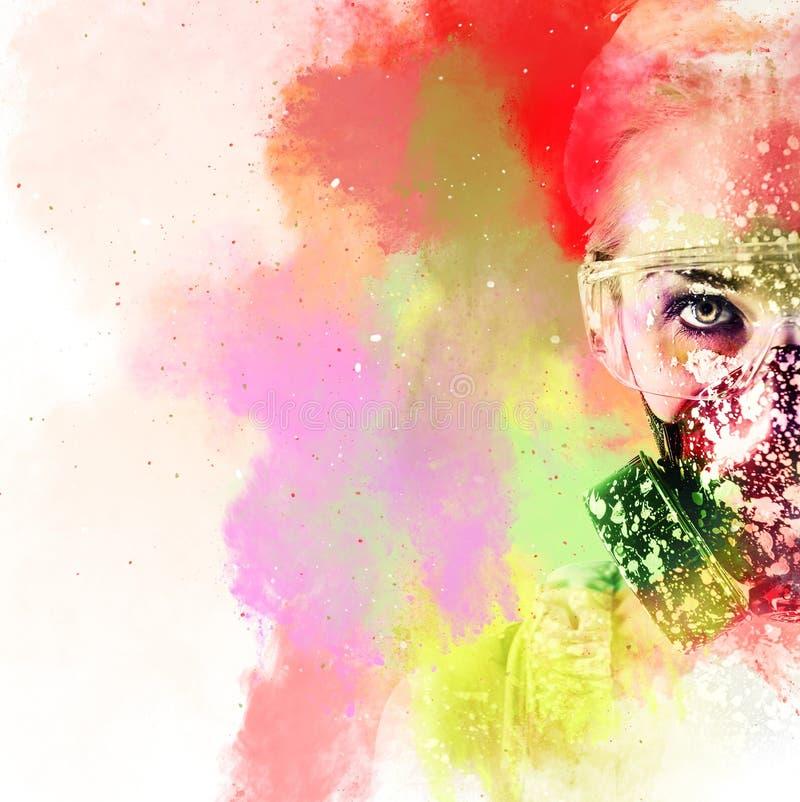Retrato de una mujer con la máscara protectora del filtro fotografía de archivo libre de regalías