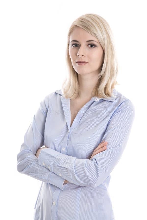 Retrato de una mujer de negocios joven aislada rubia en blusa azul fotos de archivo