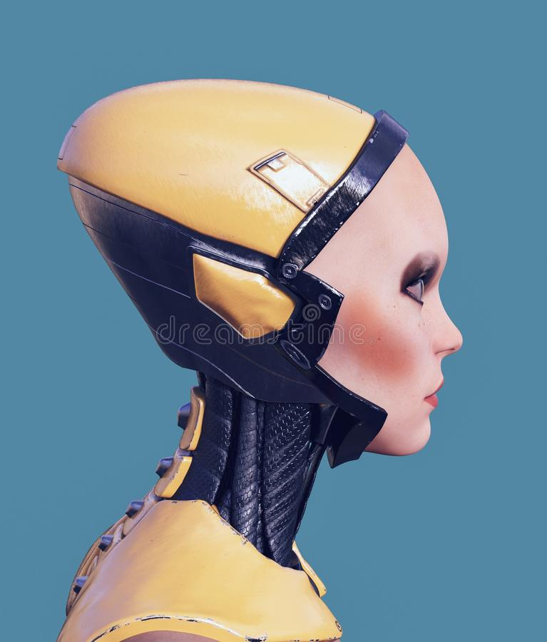 Retrato de una mujer del cyborg stock de ilustración
