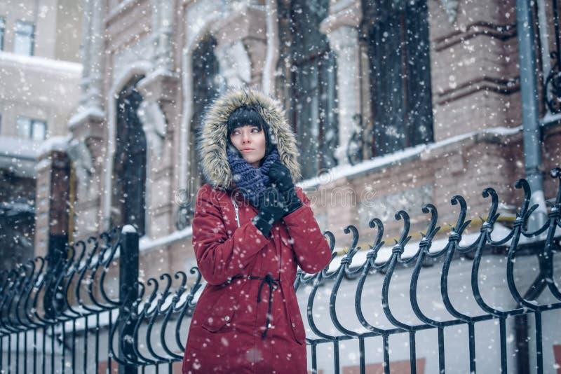 Retrato de una mujer en la nieve foto de archivo