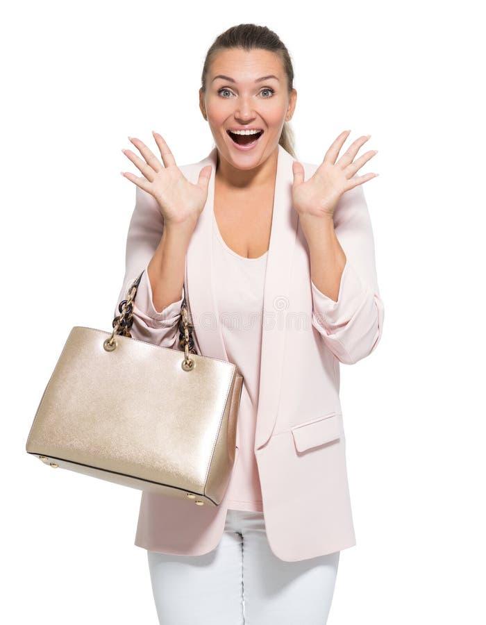 Retrato de una mujer feliz que se pregunta fotos de archivo libres de regalías