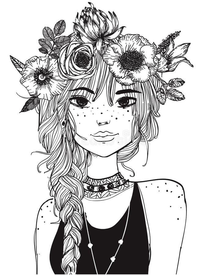 Retrato de una mujer joven con el pelo largo ilustración del vector