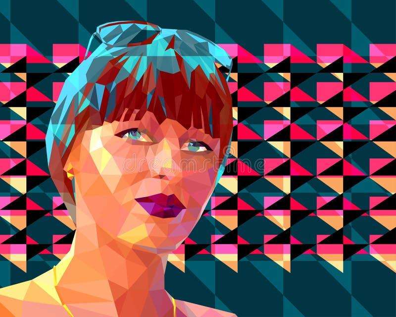 Retrato de una mujer morena atractiva joven ilustración del vector