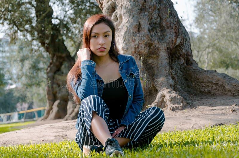 Retrato de una mujer morena atractiva, joven y atractiva que se sienta en el césped fotos de archivo